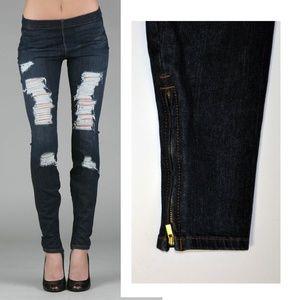 Joe's Jeans Legging Jegging Zipper leg Destroyed S